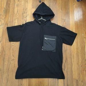 Forever 21 Men's All Black Hoodie Short Sleeve